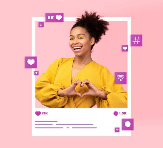 Social media influencer in instagram frame